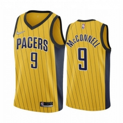 Men Indiana Pacers 9 T J  McConnell Gold NBA Swingman 2020 21 Earned Edition Jersey
