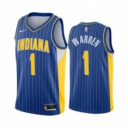 Men Nike Indiana Pacers 1 TJ Warren Blue NBA Swingman 2020 21 City Edition Jersey
