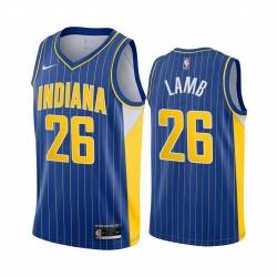 Men Nike Indiana Pacers 26 Jeremy Lamb Blue NBA Swingman 2020 21 City Edition Jersey