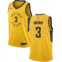 Men Nike Indiana Pacers 3 Aaron Holiday Gold NBA Swingman Statement Edition Jersey