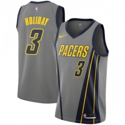 Men Nike Indiana Pacers 3 Aaron Holiday Gray NBA Swingman City Edition 2018 19 Jersey