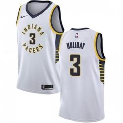Men Nike Indiana Pacers 3 Aaron Holiday White NBA Swingman Association Edition Jersey