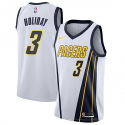 Men Nike Indiana Pacers 3 Aaron Holiday White NBA Swingman Earned Edition Jersey