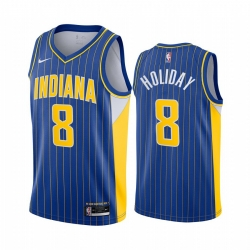 Men Nike Indiana Pacers 8 Justin Holiday Blue NBA Swingman 2020 21 City Edition Jersey