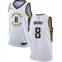 Men Nike Indiana Pacers 8 Justin Holiday White NBA Swingman Association Edition Jersey