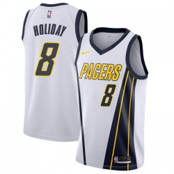 Men Nike Indiana Pacers 8 Justin Holiday White NBA Swingman Earned Edition Jersey