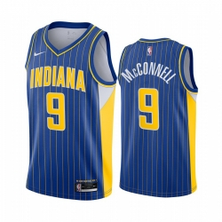 Men Nike Indiana Pacers 9 T J  McConnell Blue NBA Swingman 2020 21 City Edition Jersey