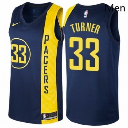 Mens Nike Indiana Pacers 33 Myles Turner Authentic Navy Blue NBA Jersey City Edition