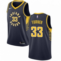 Mens Nike Indiana Pacers 33 Myles Turner Authentic Navy Blue Road NBA Jersey Icon Edition