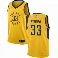 Mens Nike Indiana Pacers 33 Myles Turner Swingman Gold NBA Jersey Statement Edition