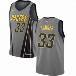Mens Nike Indiana Pacers 33 Myles Turner Swingman Gray NBA Jersey City Edition