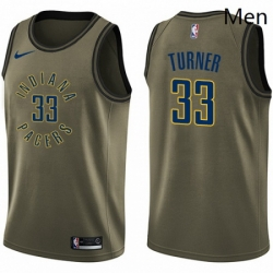 Mens Nike Indiana Pacers 33 Myles Turner Swingman Green Salute to Service NBA Jersey
