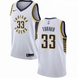 Mens Nike Indiana Pacers 33 Myles Turner Swingman White NBA Jersey Association Edition