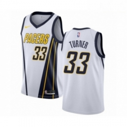 Mens Nike Indiana Pacers 33 Myles Turner White Swingman Jersey Earned Edition