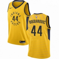Mens Nike Indiana Pacers 44 Bojan Bogdanovic Swingman Gold NBA Jersey Statement Edition