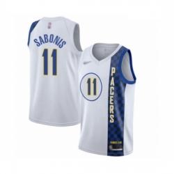 Pacers 11 Domantas Sabonis White Basketball Swingman City Edition 2019 20 Jersey