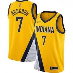 Pacers  7 Malcolm Brogdon Gold Basketball Swingman Statement Edition 2019 2020 Jersey