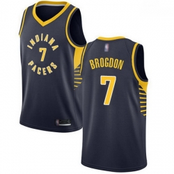 Pacers  7 Malcolm Brogdon Navy Blue Basketball Swingman Icon Edition Jersey