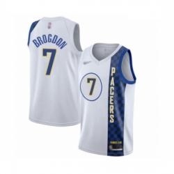 Pacers 7 Malcolm Brogdon White Basketball Swingman City Edition 2019 20 Jersey