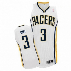 Revolution 30 Pacers 3 George Hill White Road Stitched NBA Jersey