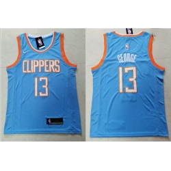 Clippers 13 Paul George Light Blue City Edition Nike Swingman Jersey