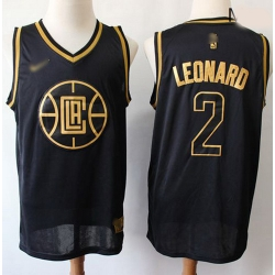 Clippers #2 Kawhi Leonard Black Gold Basketball Swingman Limited Edition Jersey