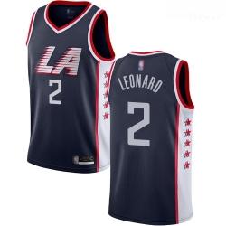 Clippers #2 Kawhi Leonard Navy Basketball Swingman City Edition 2018 19 Jersey