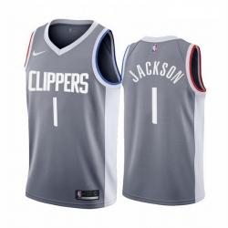 Men Los Angeles Clippers 1 Reggie Jackson Gray NBA Swingman 2020 21 Earned Edition Jersey