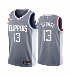Men Los Angeles Clippers 13 Paul George Gray NBA Swingman 2020 21 Earned Edition Jersey