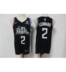 Men Los Angeles Clippers 2 Kawhi Leonard Black 2021 City Edition Nike Swin