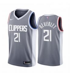 Men Los Angeles Clippers 21 Patrick Beverley Gray NBA Swingman 2020 21 Earned Edition Jers