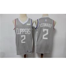 Men Nike Los Angeles Clippers 2 Kawhi Leonard Black NBA New grey playoff bonus jersey