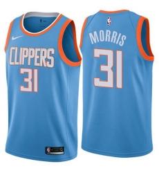 Men Nike Los Angeles Clippers 31 Marcus Morris Blue NBA Swingman City Edition Jersey