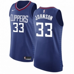 Mens Nike Los Angeles Clippers 33 Wesley Johnson Authentic Blue Road NBA Jersey Icon Edition