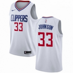 Mens Nike Los Angeles Clippers 33 Wesley Johnson Authentic White NBA Jersey Association Edition