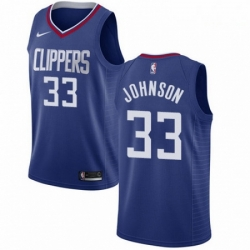 Mens Nike Los Angeles Clippers 33 Wesley Johnson Swingman Blue Road NBA Jersey Icon Edition