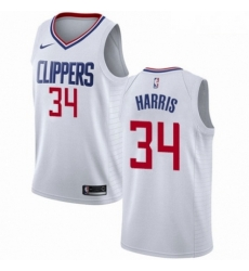 Mens Nike Los Angeles Clippers 34 Tobias Harris Authentic White NBA Jersey Association Edition