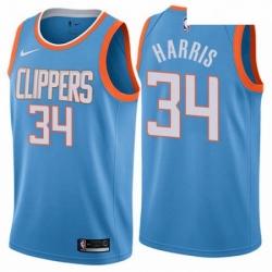Mens Nike Los Angeles Clippers 34 Tobias Harris Swingman Blue NBA Jersey City Edition
