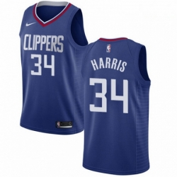 Mens Nike Los Angeles Clippers 34 Tobias Harris Swingman Blue Road NBA Jersey Icon Edition