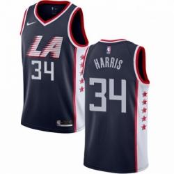 Mens Nike Los Angeles Clippers 34 Tobias Harris Swingman Navy Blue NBA Jersey City Edition