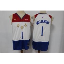 Men New Orleans Pelicans 1 Zion Williamson White 2020 21 City Edition Nike Swingman