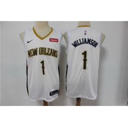 Men New Orleans Pelicans 1 Zion Williamson White Earned Edition Nike Swingman Jersey