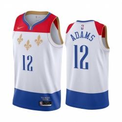 Men Nike New Orleans Pelicans 12 Steven Adams White NBA Swingman 2020 21 City Edition Jersey