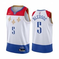 Men Nike New Orleans Pelicans 5 Eric Bledsoe White NBA Swingman 2020 21 City Edition Jersey