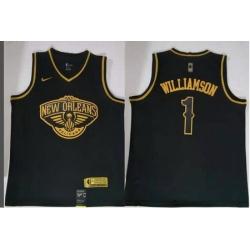 Men Pelicans 1 Zion Williamson Gold Edition Nike Swingman Jersey