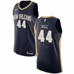 Mens Nike New Orleans Pelicans 44 Solomon Hill Authentic Navy Blue Road NBA Jersey Icon Edition
