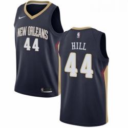 Mens Nike New Orleans Pelicans 44 Solomon Hill Swingman Navy Blue Road NBA Jersey Icon Edition