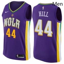 Mens Nike New Orleans Pelicans 44 Solomon Hill Swingman Purple NBA Jersey City Edition