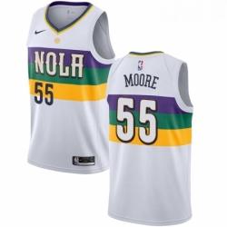 Mens Nike New Orleans Pelicans 55 E Twaun Moore Swingman White NBA Jersey City Editio