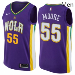 Mens Nike New Orleans Pelicans 55 ETwaun Moore Authentic Purple NBA Jersey City Edition